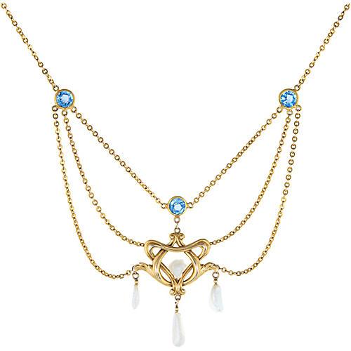 Art Nouveau Drop Necklace Blue Sapphire