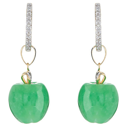 Jade Apple Diamond Drop Earrings