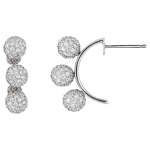 Gwennie Tam Diamond Earrings 3 Ball Orb