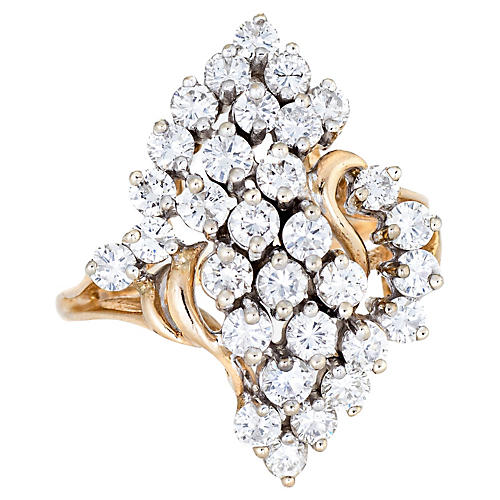 2ct Diamond Cluster Ring 14k Gold