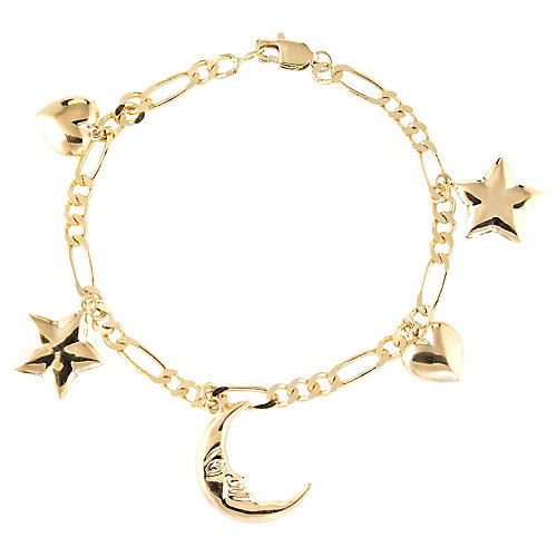 Moon & Star Charm Bracelet 14k Gold