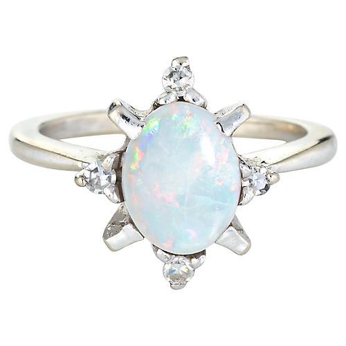 Natural Opal Diamond Ring 14k Gold