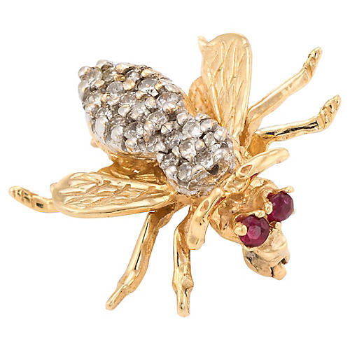 Bumble Bee Brooch Diamond & Ruby