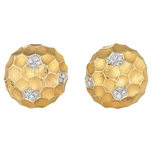 Diamond Dome Honeycomb Clip Earrings 18k