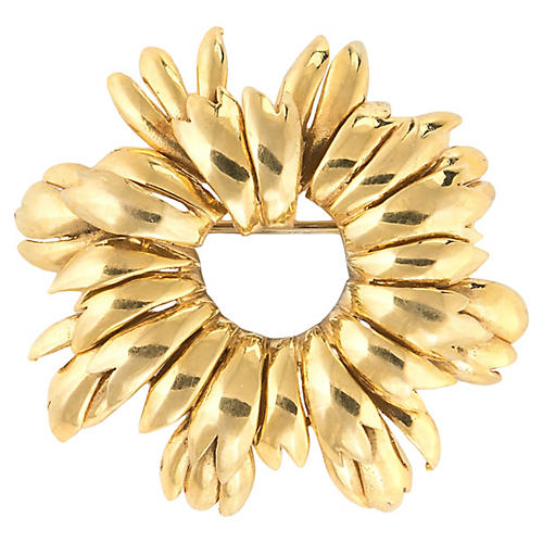 Vintage Tiffany & Co Wreath Brooch 18k