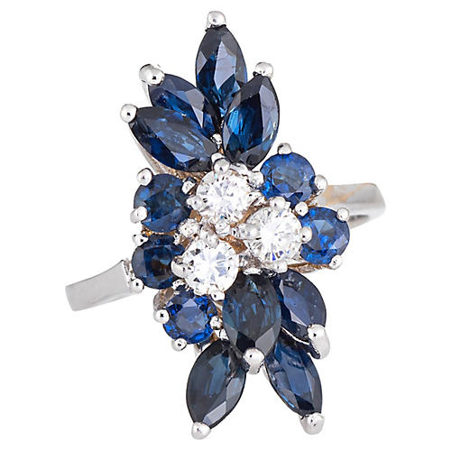 Sapphire & Diamond Spray Ring