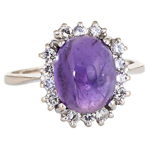 Cabochon Amethyst Diamond Ring
