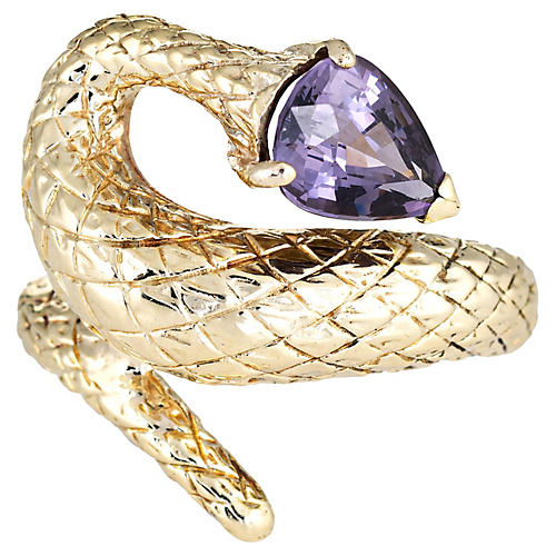 Snake Ring Purple Spinel 14k Gold