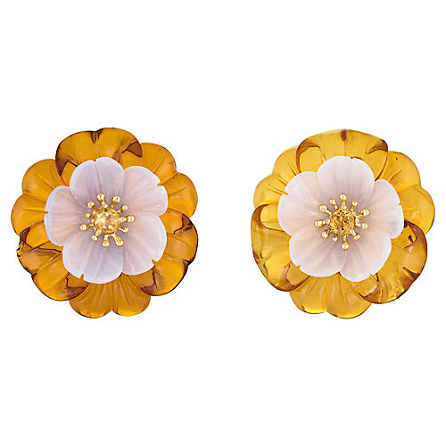 Trianon Amber Flower Earrings Chalcedony