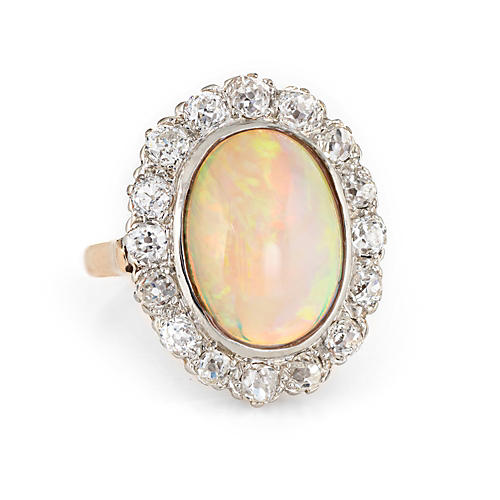 Art Deco Opal Diamond Ring 14k Gold