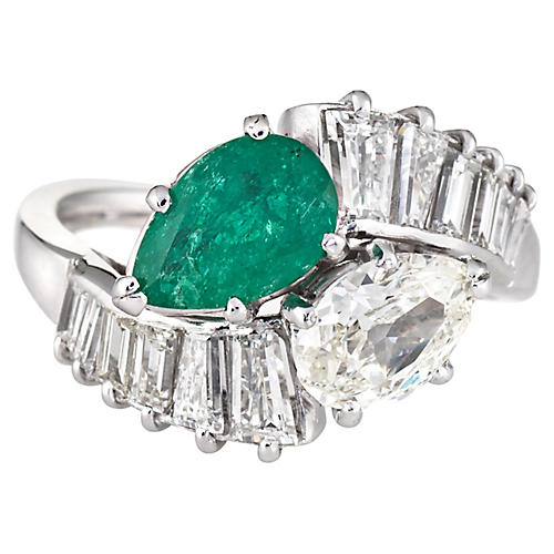 Diamond Emerald Toi et Moi Ring 18k Gold