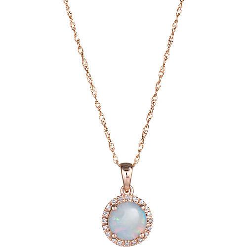 Opal Diamond Halo Necklace 14k Gold
