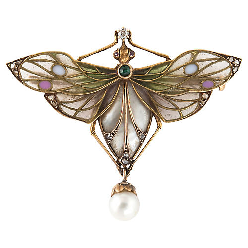 Antique Art Nouveau Dragonfly Brooch 18k