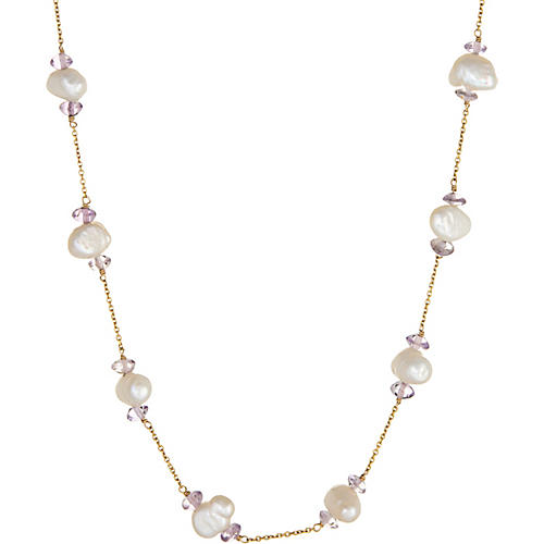 Amethyst Pearl Station Necklace