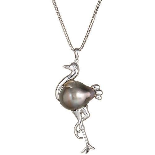 Stork Pendant & Necklace Baroque Pearl