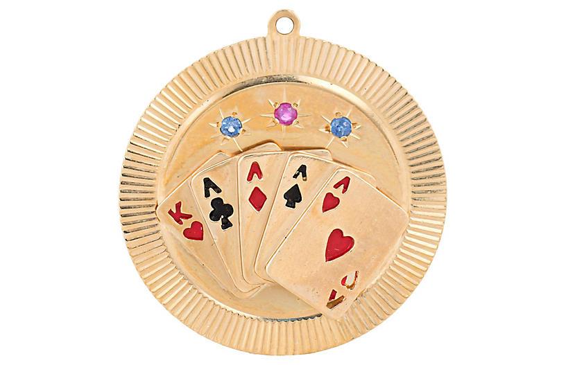 Four of a Kind Quads Gambling Charm 14k