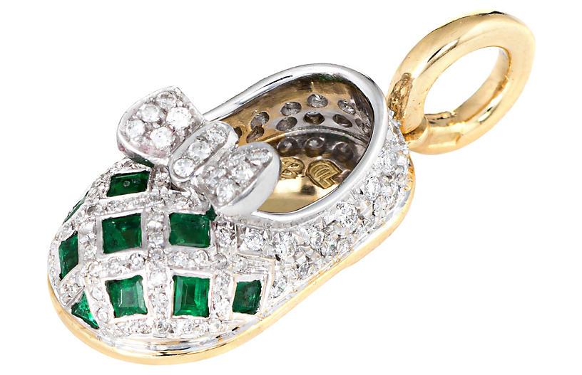 Aaron Basha Diamond Emerald Shoe Charm