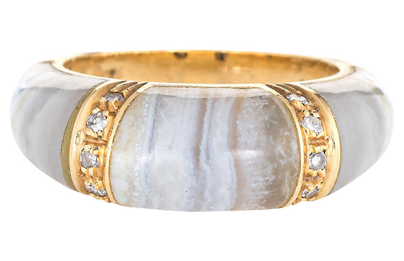Banded Agate Diamond Ring 18k Gold