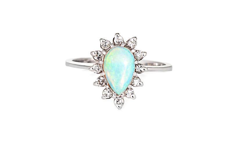 Natural Opal Diamond Ring 14k Gold