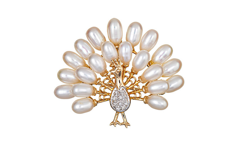 Peacock Pendant or Brooch Diamond Pearl