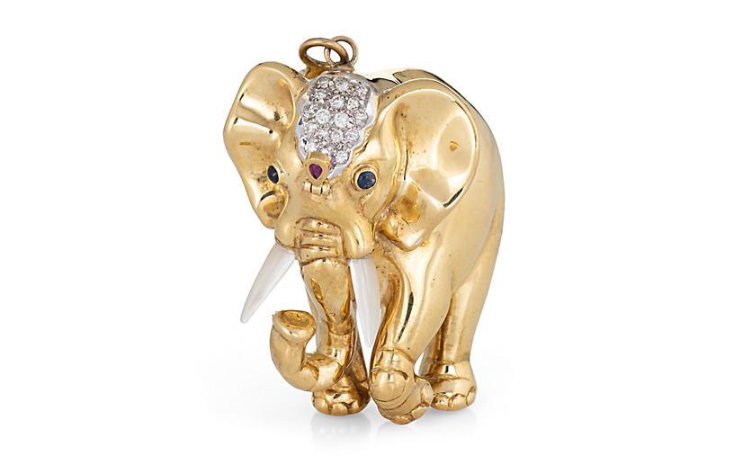 Gemstone Elephant Pendant 18k Gold