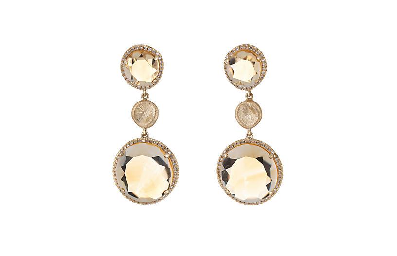 Golden Topaz Diamond Drop Earrings