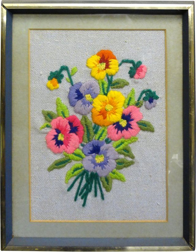Embroidered Pansy Bouquet