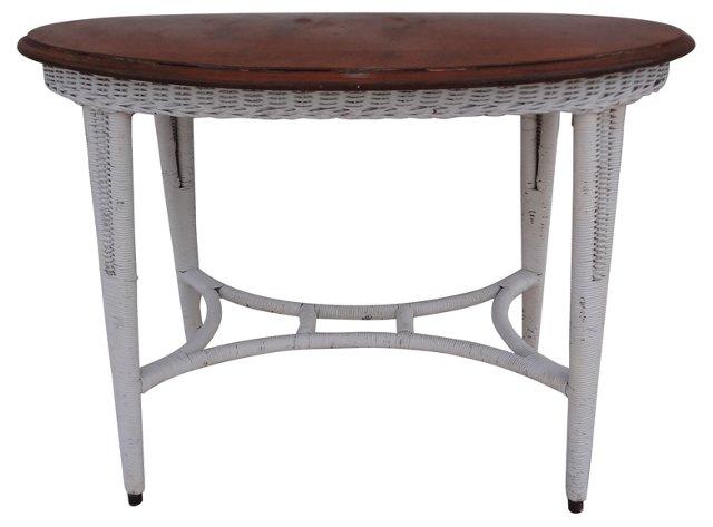 Oval Wicker  Table w/ Maple Top
