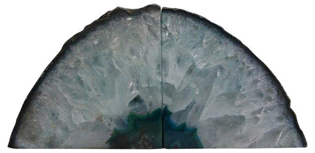 Blue-Green Geode Bookends
