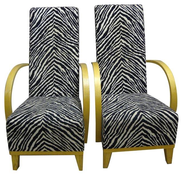 Swedish Zebra-Print Armchairs, Pair