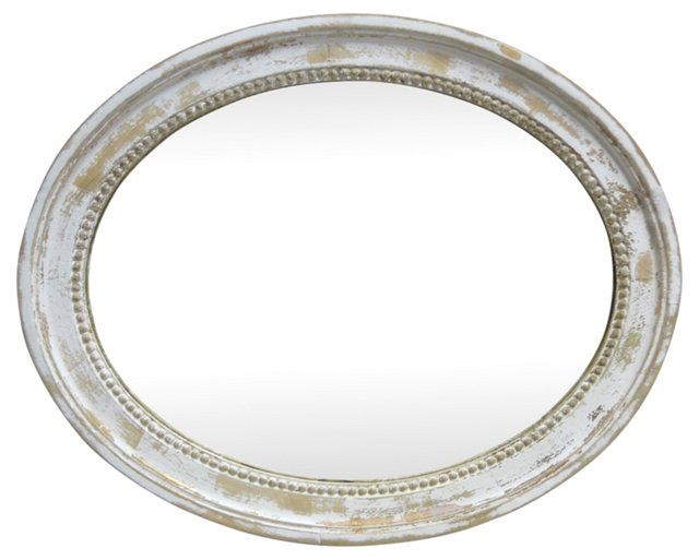 Distressed  Oval  Wall  Mirror
