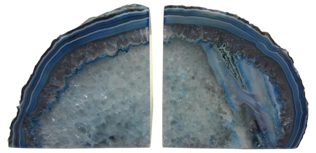 Crystal Core Blue-Lined Bookends