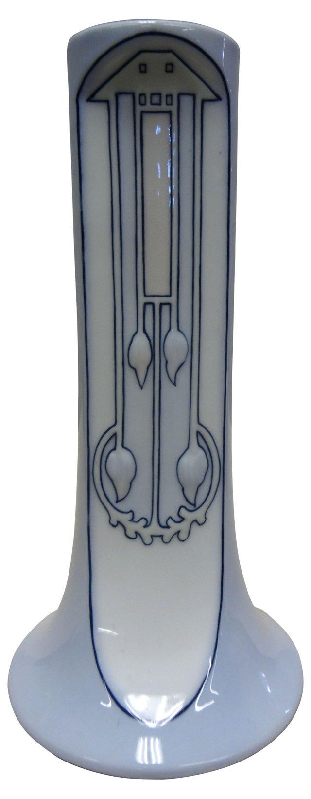 Blue & White Art Deco Vase