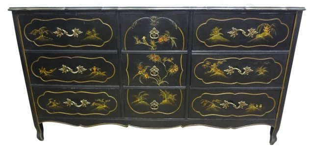 Hand-Painted Chinoiserie Dresser
