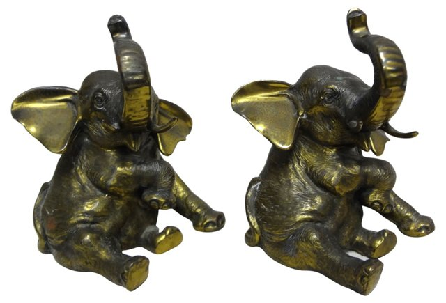 Brass Elephant Bookends