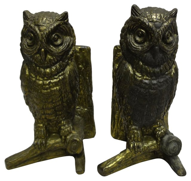 Brass Owl   Bookends