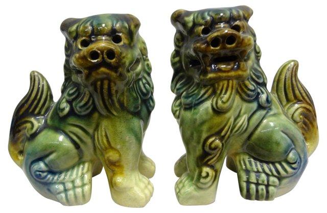 Ceramic Foo Dogs,    Pair