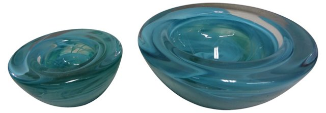 Blue Murano Glass Votive Bowls, Pair