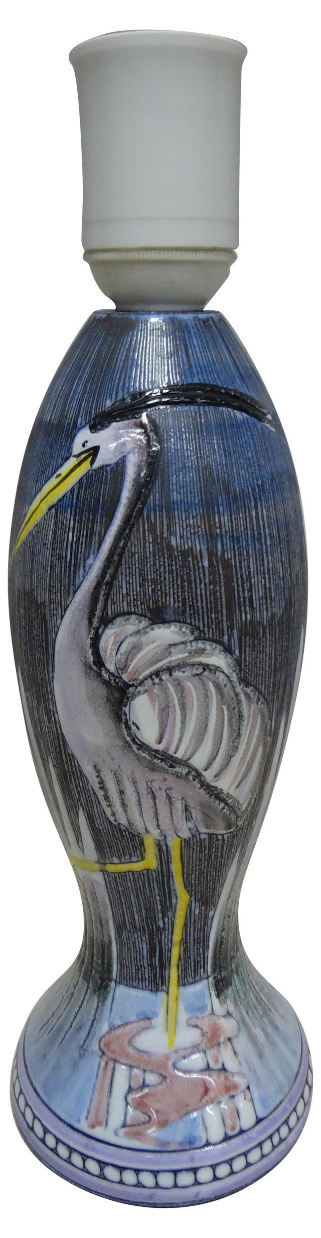 Swedish Ceramic Crane Lamp