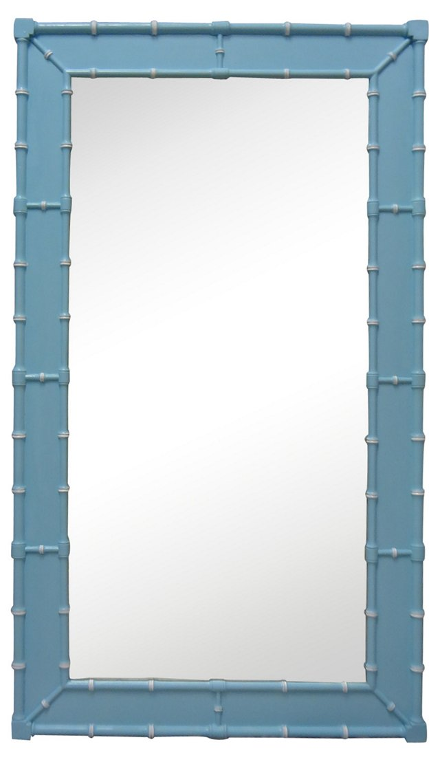 Baby Blue Faux-Bamboo Mirror