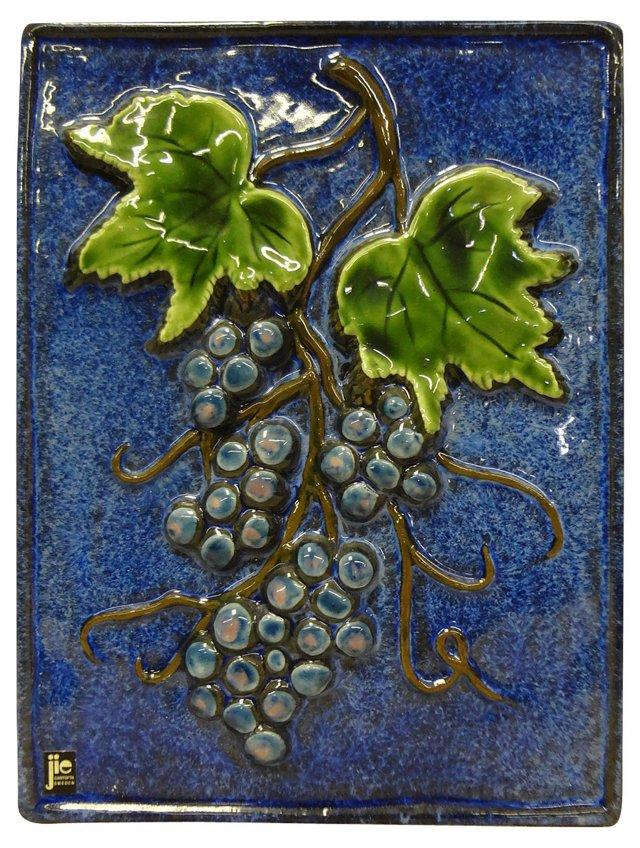 Swedish Ceramic Grapes  Plaque