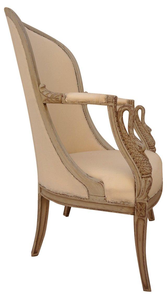 19th-C. Swedish Armchair w/ Swans