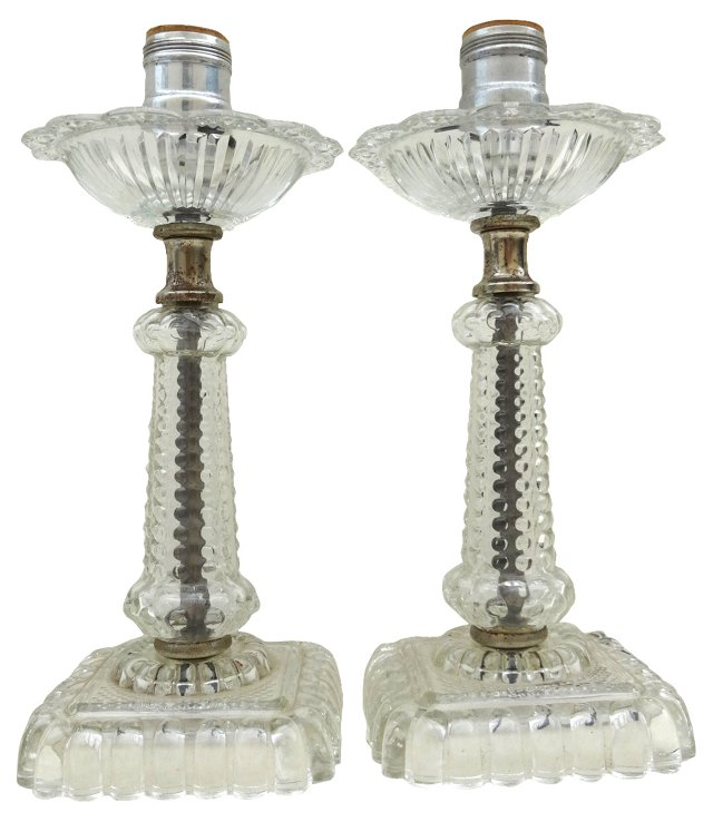 Cut-Crystal Lamps, Pair
