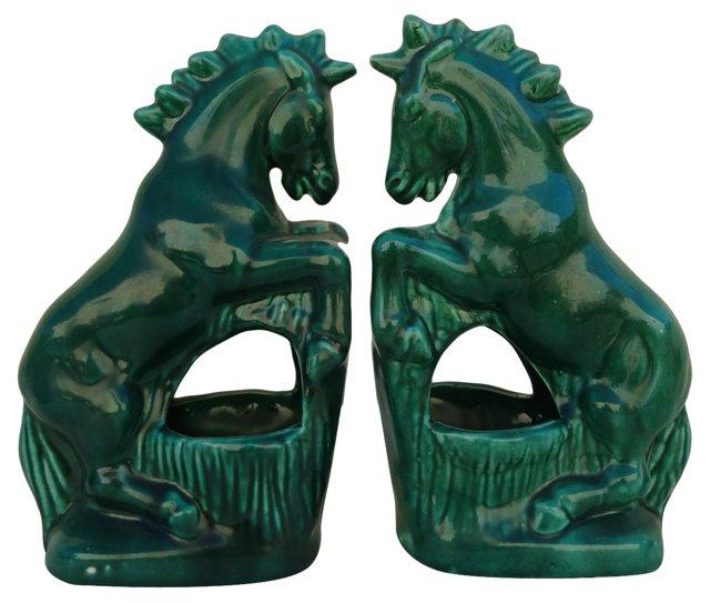 Ceramic Horse   Bookends