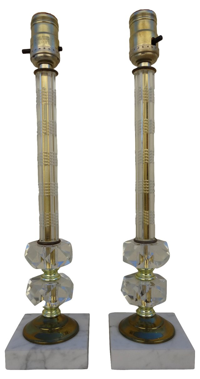 Glass  & Marble Lamps, Pair