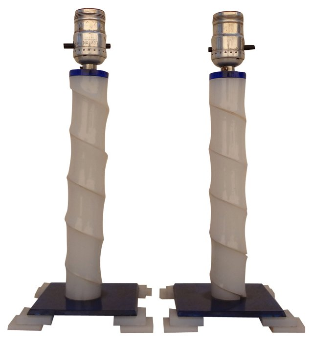 White & Blue Lamps, Pair