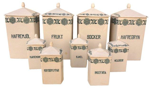 Swedish Condiment Jars, Set of 9