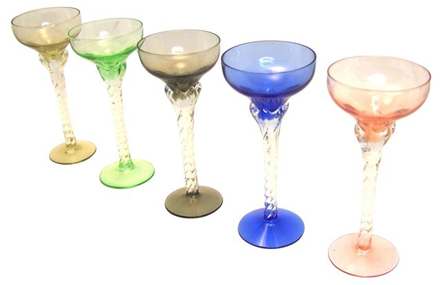 Twisted Stem Cordial Glasses, S/5