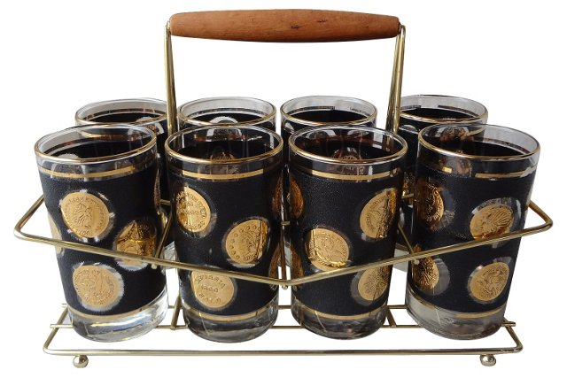 Highball Glasses & Caddy, S/9