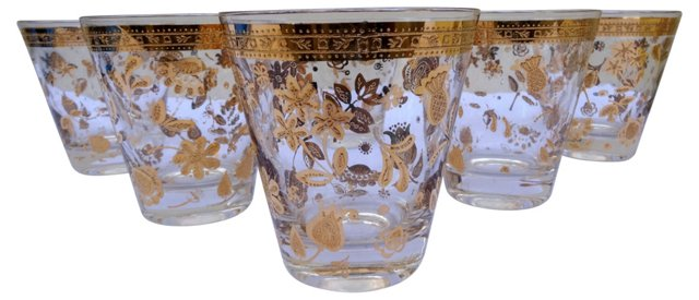 Gold Floral Cocktail Glasses, S/6